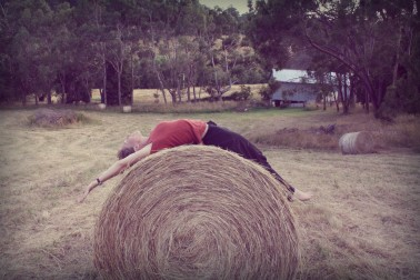 Backbend with a haywheel